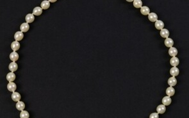 Two-strand cultured pearl bracelet on a 14k white gold clasp...