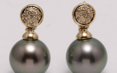 United Pearl - 11x12mm Round Tahitian Pearls - 14 kt. Yellow gold - Earrings - 0.11 ct