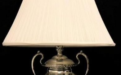 VINTAGE TROPHY STYLE SILVER PLATED TABLE LAMP