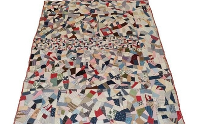 Victorian Crazy Patchwork, incorporating a central panel of tiny patches,...