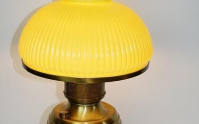 Victorian brass converted oil lamp with yellow shade