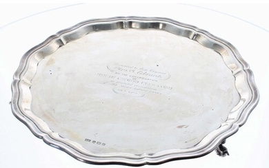 Viner's Ltd. circular silver salver, with moulded shaped rim...