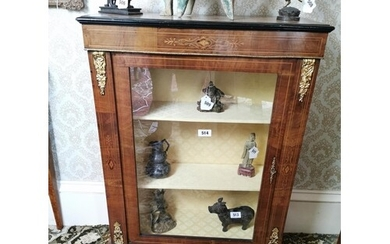 19th. C. inlaid walnut pier cabinet with gilded metal mounts...