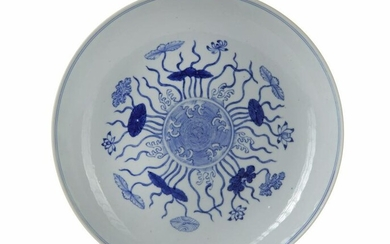 A CHINESE BLUE AND WHITE LOTUS DISH, 19TH CENTURY
