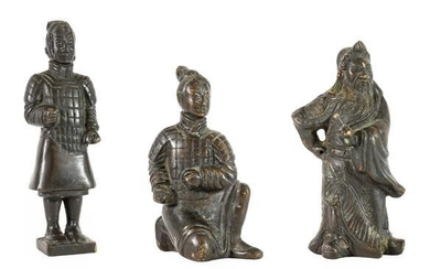 A Chinese Bronze Figure of a Dignitary, 19th century, standing...