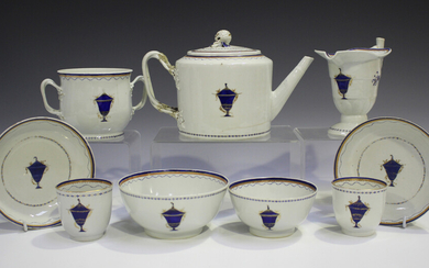A Chinese export porcelain part tea service, late Qianlong period, painted with gilt overlaid cobalt