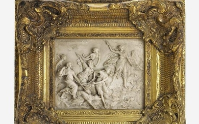 A French Composition Marble Wall Plaque After Martin
