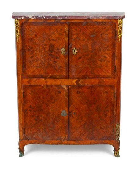 A French Empire Style Marble Top Marquetry Cabinet