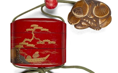 A Japanese red lacquer three-layer Inro, Meiji period, finely decorated with maki-e coastal scene of a fisherman and pagoda, with wood netsuke carved as a group of shells and ojime bead, 7.5 x 6.5cm