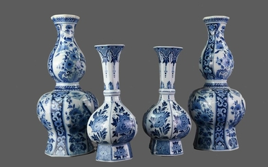 A PAIR OF EARLY 20TH CENTURY DELFT BLUE AND WHITE VASES, ALONG WITH ANOTHER PAIR
