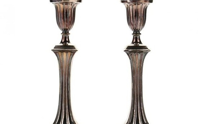 A Pair of 19th Century English Silverplate Candlesticks