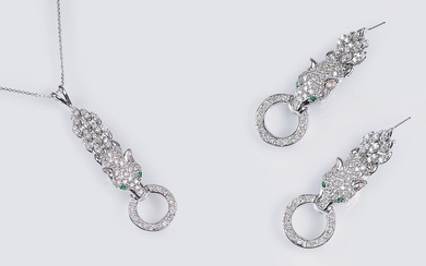 A Pair of Diamond Emerald Earrings 'Panther' with matching Pendant on Necklace.