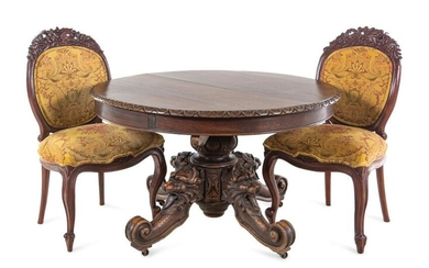 A Renaissance Revival Carved Walnut Breakfast Table and