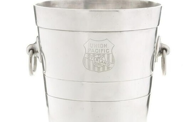 A UNION PACIFIC RR ICE BUCKET WITH OVERLAND ROUTE LOGO