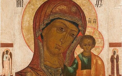 A VERY LARGE ICON SHOWING THE KAZANSKAYA MOTHER OF GOD