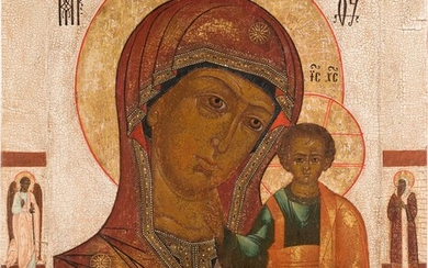 A VERY LARGE ICON SHOWING THE KAZANSKAYA MOTHER OF GOD...