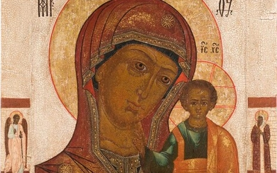 A VERY LARGE ICON SHOWING THE KAZANSKAYA MOTHER OF...