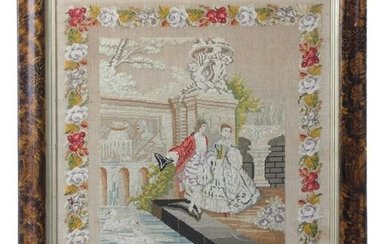 A VICTORIAN NEEDLEWORK PICTURE BY HELEN BRAY worked with a lady and a gentleman in...