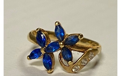 A gem set dress ring, stamped 750+ with continental marks, s...