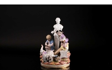 A large late 19th century Meissen figural group of children ...