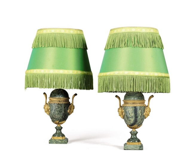 A pair of gilt-bronze-mounted green campana marble lamps, late 19th century