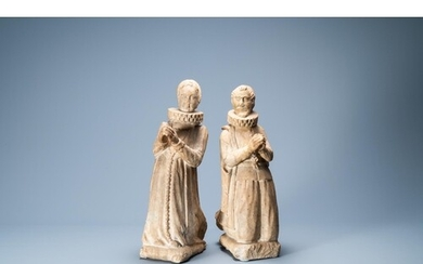 A pair of marble figures of the praying Albert VII, Archduke...