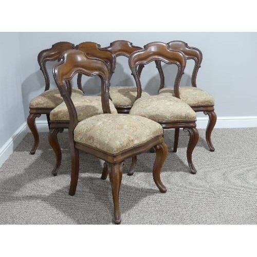 A set of six Victorian mahogany Dining Chairs, with cabriole...