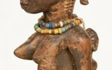 AFRICAN, LUBA, RDC, CONGO CARVED WOOD FEMALE FIGURE