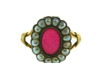 ANTIQUE 9k Yellow Gold & Seed Pearl Ring Circa 1900s