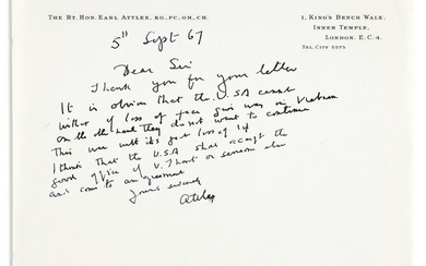 """ATTLEE, CLEMENT. Autograph Letter Signed, """"Attlee,"""" to"""