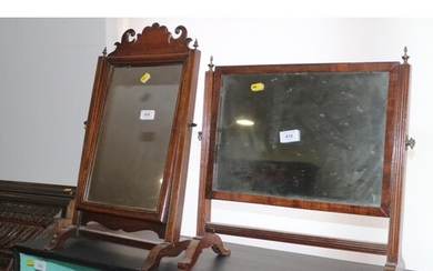 An 18th century mahogany swing frame toilet mirror, on skele...