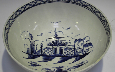 An English blue and white pearlware bowl, Leeds or Liverpool, late 18th/early 19th century, the ribb