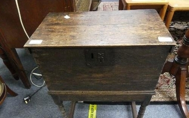 An antique oak Box on Stand, the rectangular box with hinged...