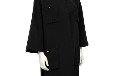 Anonymous Black Unlined Felted Wool Coat