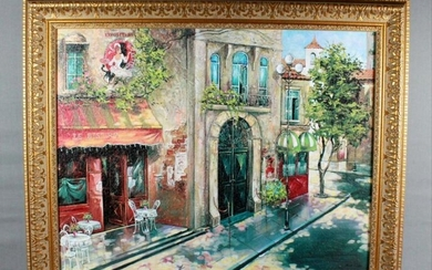 Antique Painting On Canvas Of French Street Scene