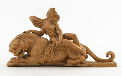 Asian 'Woman on Tiger' Carved Wood Sculpture