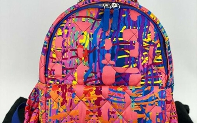 CHANEL CC Foulard Fabric Quilted Printed Backpack Pink