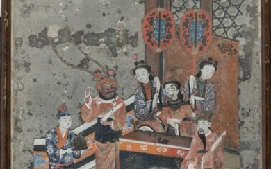 CHINESE SCHOOL 19TH CENTURY. PAINTING ON PAPER APPLIED ON GLASS.