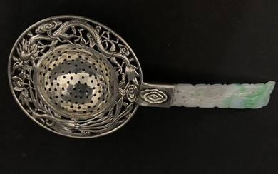 CHINESE STERLING SILVER AND JADE TEA STRAINER