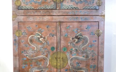 CHINESE STYLE COROMANDEL BRASS MOUNTED LACQUERED CABINET ON CABINET