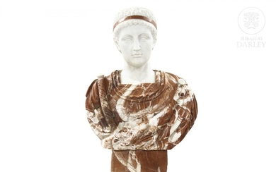 """Carved marble bust, """"Augustus"""" 20th century"""