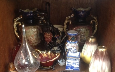 Ceramics and glass including an Oriental vase, pair of balus...