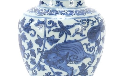 Chinese blue and white porcelain jar hand painted with mythi...