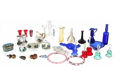 Collection of assorted miniature glass and porcelain items i...
