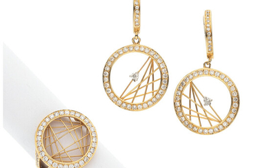 Diamond, Gold Jewelry Stones: Full-cut diamonds weighing a total...