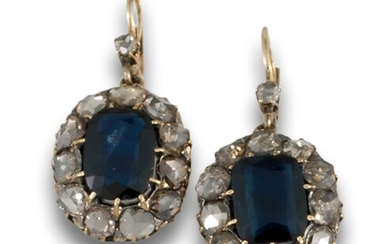Diamond stud earrings sapphires .19th century long earrings in 18kt yellow gold and silver settings,...