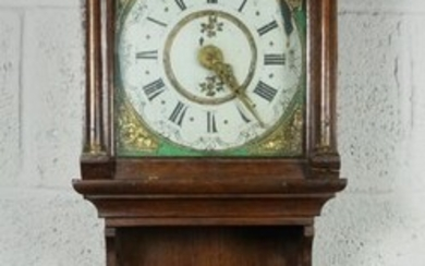 Dutch Oak Wall Clock, 19th Century, Having a painted dial, Approximately 100cm highCondition