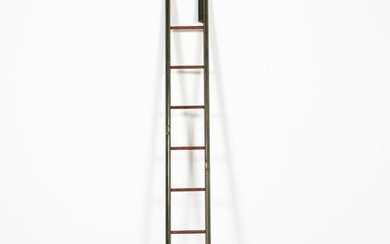 ENGLISH GREEN LEATHER FOLDING LIBRARY LADDER
