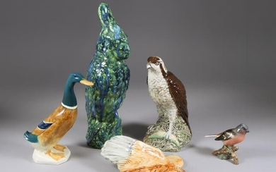 Eight Beswick Pottery Bird Models, including - cockatoo with...