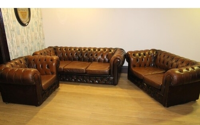 Excellent quality chesterfield three piece deep buttoned uph...